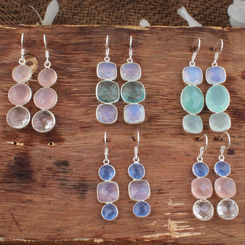 Multi Gemstone Earrings I 925 Sterling Silver Earrings I Bezel Combo Earrings
