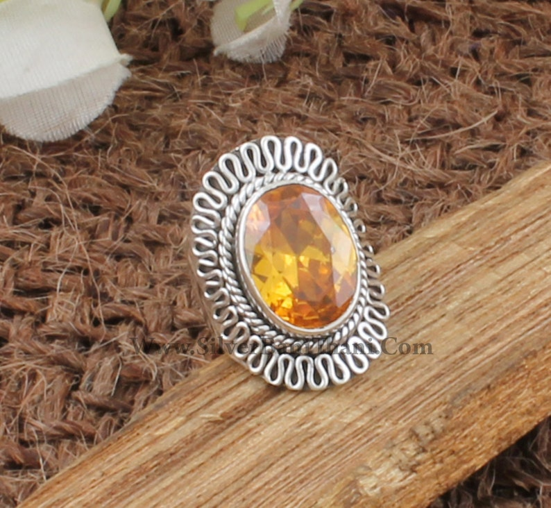 Yellow Cubic Zircon Oval Gemstone Antiqued Silver Ring Handmade Women Wedding Jewelry Solid 925 Sterling Solid Silver Ring Gift For Her