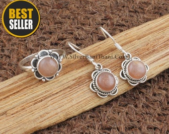 Peach Moonstone Silver Jewelry Set | 925 Sterling Silver Smooth Stone Ring & Earring For Women | Flower Design Bridal Wedding Jewelry Gift