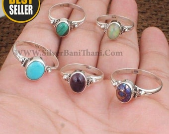 Boho Solid Silver Rings * 925 Sterling Silver Rings * Gemstone Ring * Oval Shape Stone Ring * Daily Use Middle Finger Ring * Gift For Sister