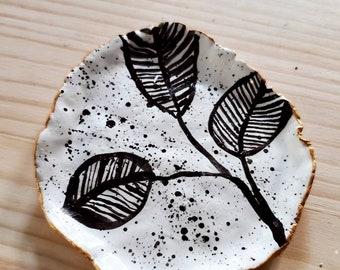 Handmade Ceramic Ring Jewelry Dish Tie Dye  Splatter
