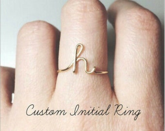 Rose Gold Initial Ring \u2022Personalised Ring\u2022 Adjustable Opening Ring Initials Name Alphabet Female Party Chunky Wide Trendy Jewelry Gift Set