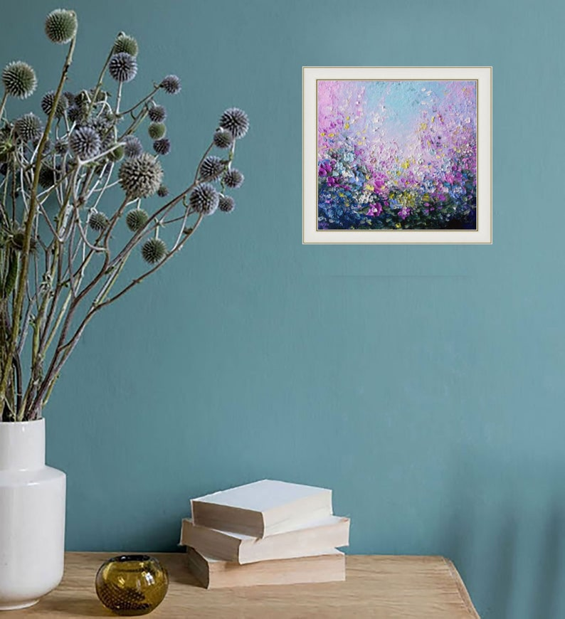 Original Oil Painting Wildflower at the Wall