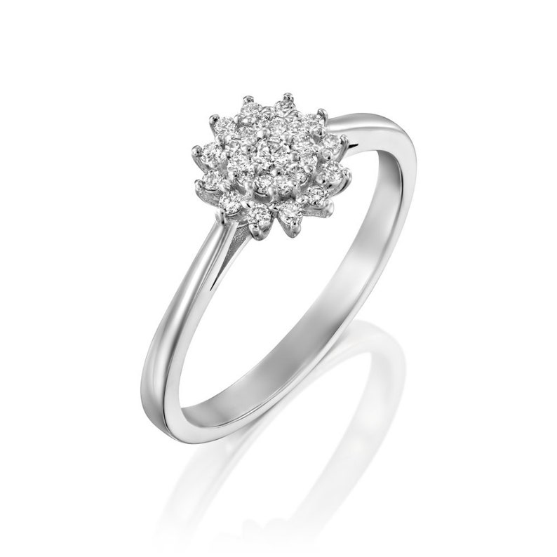 0.20 Ctw 25 Natural Round Brilliant Cut Anniversary Mother/'s Day Gift Diamond Cluster Ring 14k Solid White Gold Flower Cluster Ring