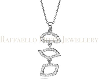 14k Gold Pendant With Zircons, Solid White Gold Necklace, Multiple Shapes Charm Necklace, Gemstone Pendant Necklace, Birthday Gift 3.4g