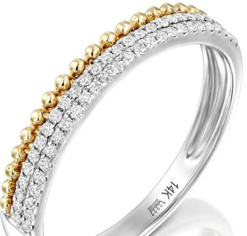 Diamond Two Tone Wedding Ring 14k Solid Gold Unique Anniversary Band .20 Ctw 44 Natural Diamonds In Pave Half Eternity Set Stackable Ring