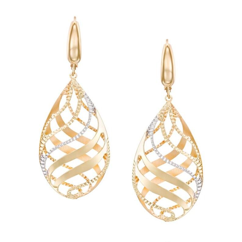 Wave Pattern Gold Earrings 4.6cm 3.9g Solid Two Tone Gold Dangle Earrings Huge Teardrop Earrings 14k Gold Chandelier Earrings