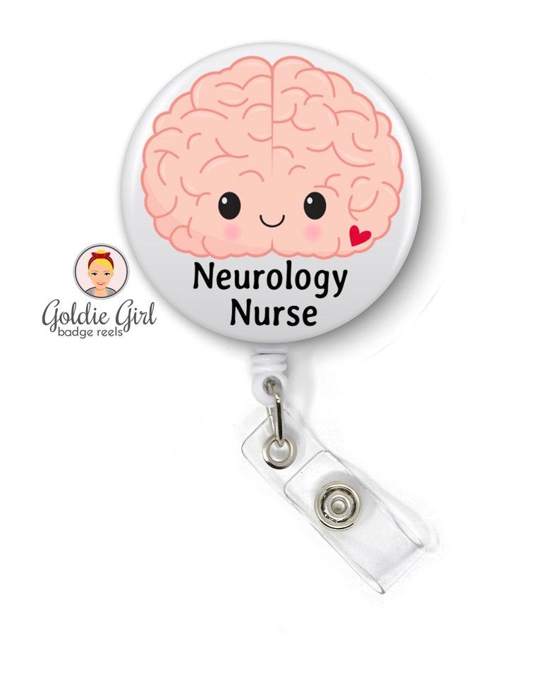 ID Badge Holder Retractable Badge Neuro Nurse Neurology Nurse Badge Reel Funny Neurology Gift Nurse Gift Badge Clip Name Badge Holder
