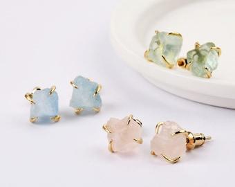 Raw Healing Crystal Earrings, 18K Gold Gemstone Stud Earrings for Women, Healing Crystal Stud Earrings, Rough Rose Quartz Amethyst Earrings