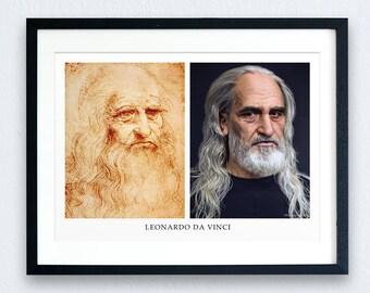 Leonardo Da Vinci Recreation Prints - 2 OPTIONS | Art Prints | Giclee | History Prints | Historical Figures | Italy History | History Lovers