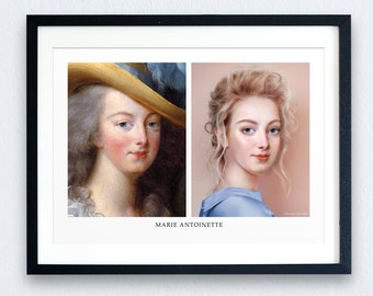 Marie Antoinette Recreation Print - 2 Options | French History Prints | Gift for Her | Marie Antoinette Prints