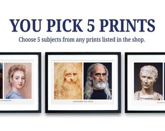 You Pick 5 Royalty Now Prints | Art Prints | Giclee | Art History Prints | Portrait Prints | Print Gift Set | Set of 5 | History Print Set