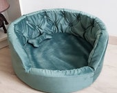 Exclusive velvet bed, name bed, bed for small and medium breeds of dogs, bed for cats, round sofa for pets
