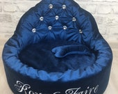 Personalized pet bed, Exclusive Dog Bed, Unique Cat Bed, velvet Bed for small Breeds, luxury puppy Bed