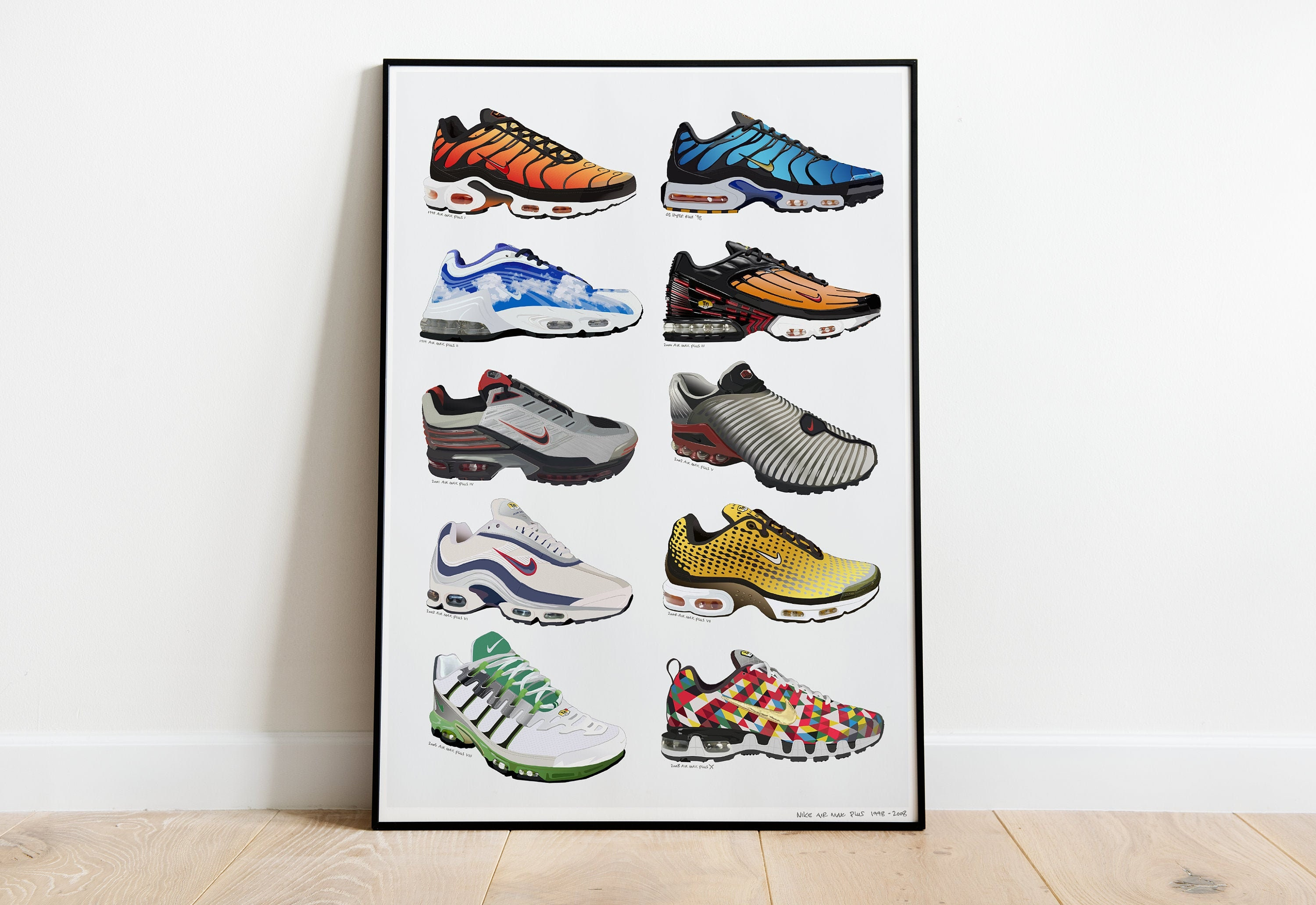 Nike TN History Poster 1998 -2008 Art Poster Air Max Plus tn Sneaker Illustration A4 or A3 | Signed by Artist & FREE GIFT
