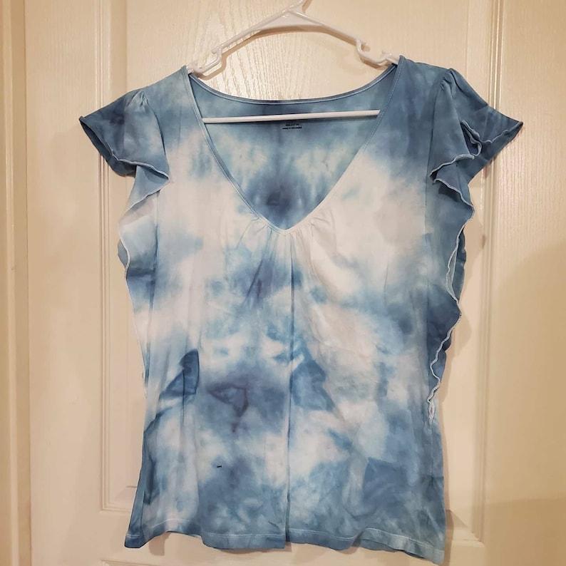 womens tie dye t-shirt On Cloud Nine blue butterfly sleeved Tie dye t shirt Large