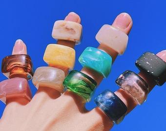 blue Water Chunky Ring Acrylic chunky ring Resin chunky ring