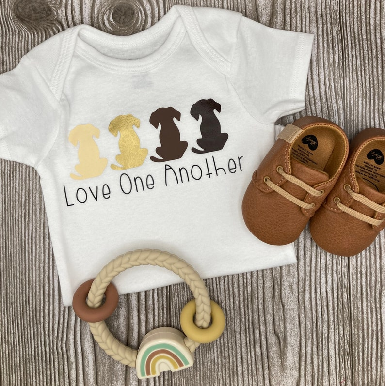Love One Another Multicultural Dogs Baby Gerber Organic Handmade Onesie