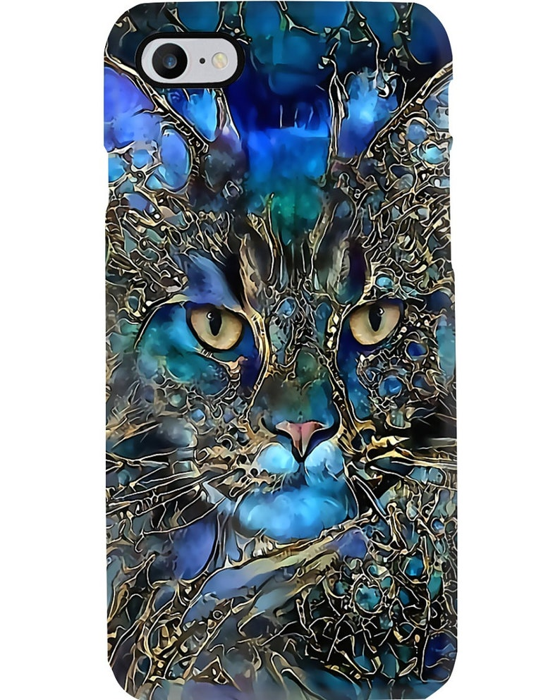Cat in Blue Paisley iPhone Silicone Case