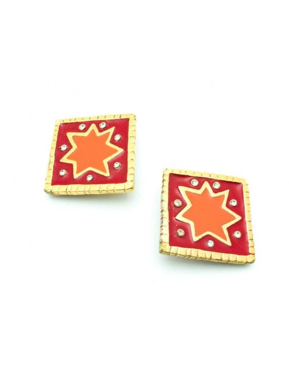 Christian Lacroix Vintage Orange Star Enamel Clip-
