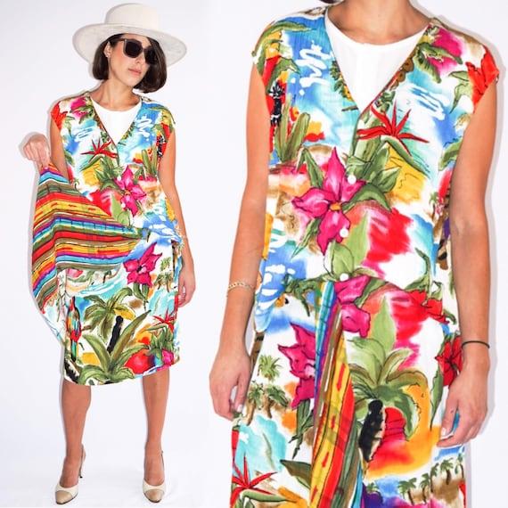 Vintage 1990's Hawaiian Tropical Vest Skirt 2 Piec