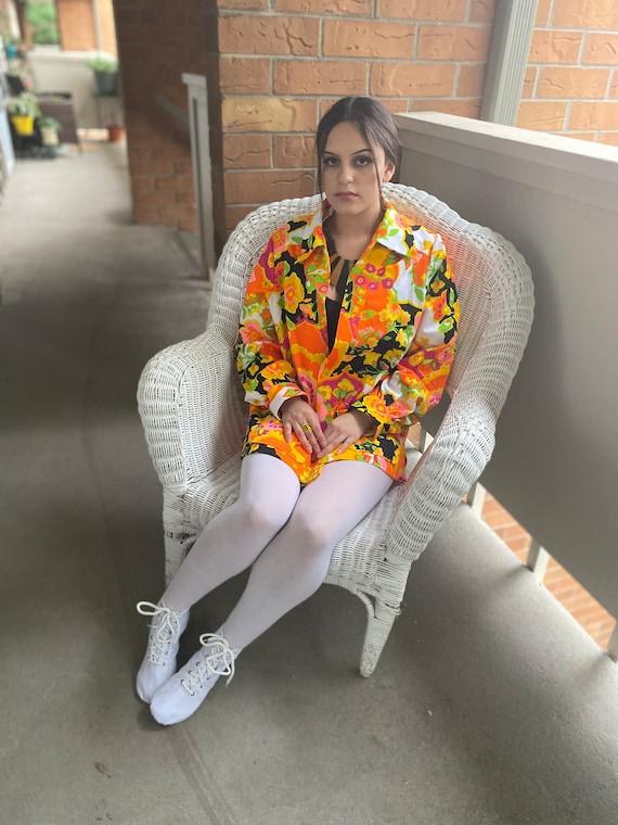 1970s puff sleeve crazy floral print orange pink g