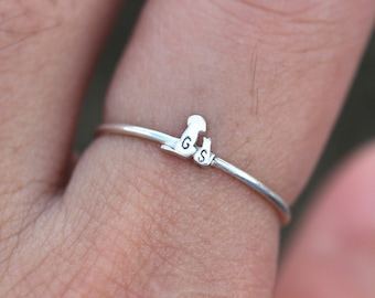 solid 925 silver custom dog and cat ring,family animal jewelry, animal lover ring,initial ring,Personalized letter jewelry,pet jewelry