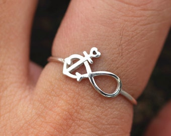 Sterling Silver infinite ring,silver anchor ring,silver infinity ring,sterling silver ring, delicate ring,minimalist jewelry,fine ring