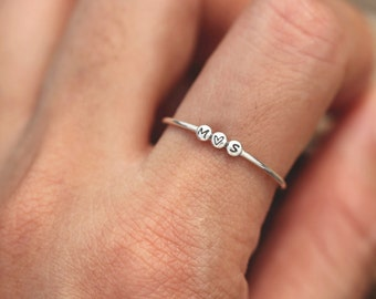 Classy Monogram Ring 2 Letters Monogrammed Ring Custom 2 Initials Stamp Disc Ring Personalized Engrave Silver Ring