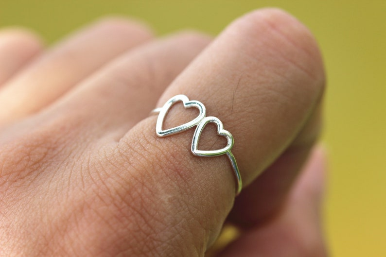 romantic special gift sterling silver open heart love ring,delicate dainty ring,simple valentines day jewelry 925 silver double heart ring