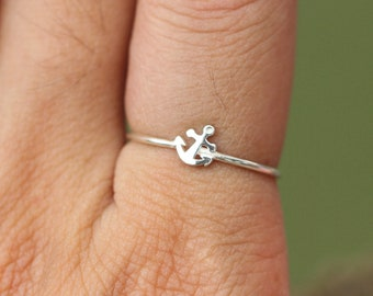 Sterling Silver midi anchor ring,silver lucky ring, delicate dainty ring,minimalist ring