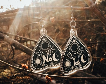 Large glitter resin planchette earrings in black pastel pink green white or gold hook stud or clip on