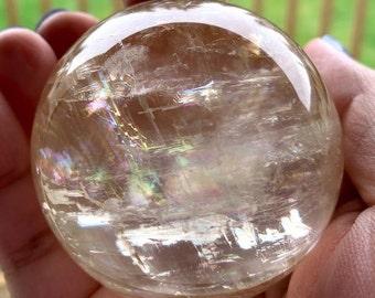 Honey Calcite Sphere   Confidence   Motivation   Willpower