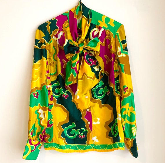 Vintage Bright Tie Neck Button-Down Mardi Gras
