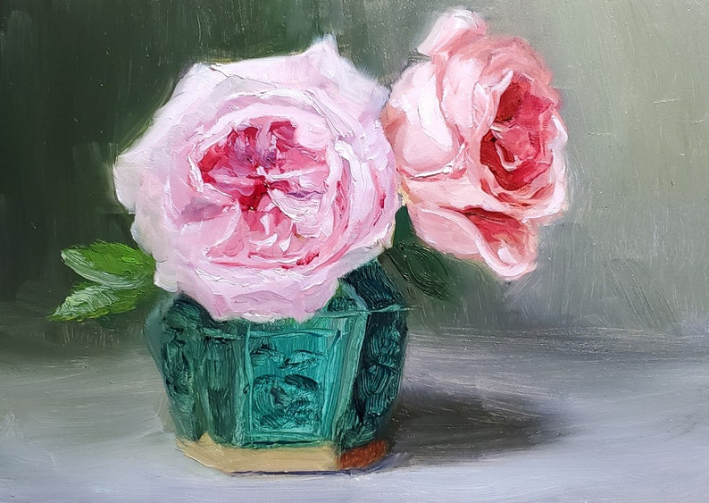 Rose painting Roses in Green Chinese Pot