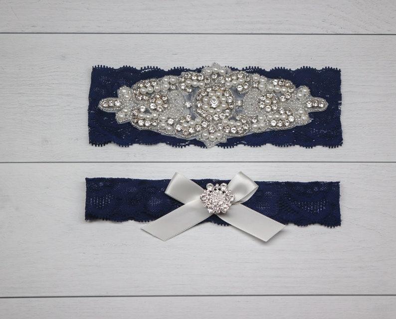 Bridal Garter Navy Wedding Garter Garters for wedding Wedding Garter Blush Wedding Garter Belt Wedding Garter Wedding Garters