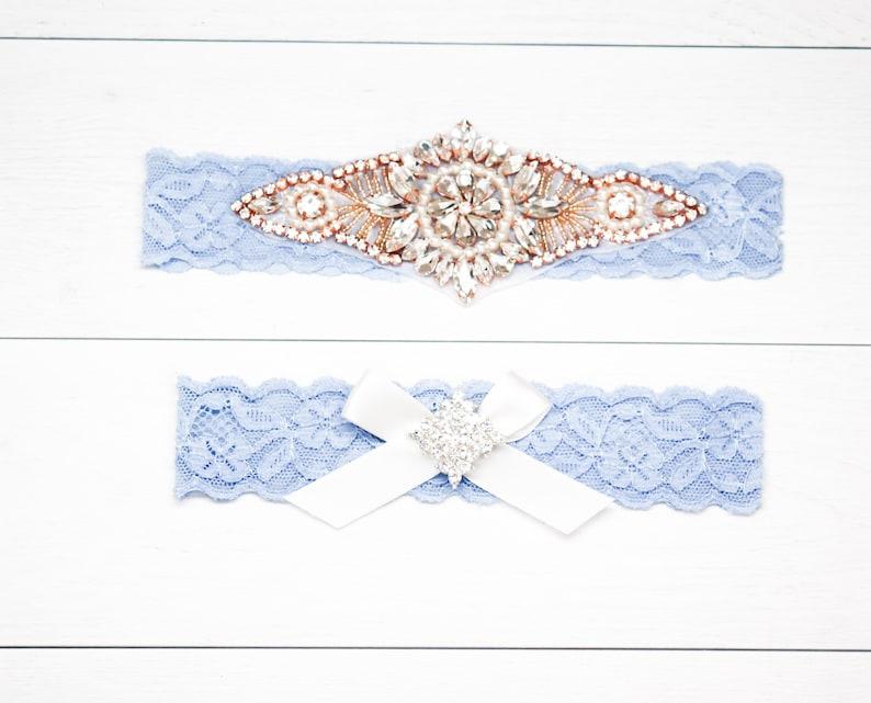 Style G37000CR Vintage Blue Garter Set Wedding Garter and Toss Garter-Crystal Rhinestone