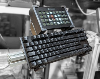 Universal Stream Deck XL + Keyboard Holder Combo for Extruded Aluminum Profile - UNI Series