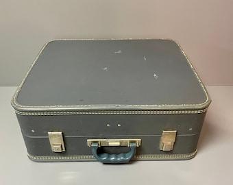Vintage Suitcase, Vintage Luggage, Antique Suitcase, Vintage Blue Suitcase, Crown Suitcase