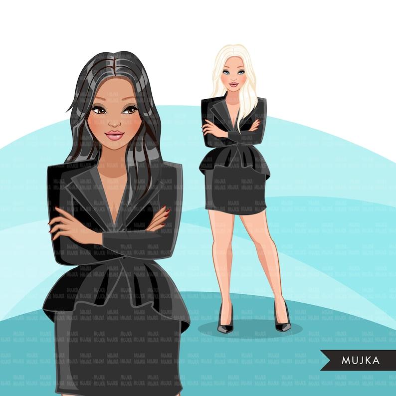 Fashion Clipart Caucasian Business Woman long hair Sublimation designs digital download for Cricut clipart