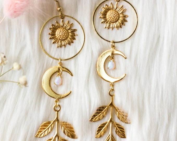 You Are My Sunshine Dangle Earrings | Boho Earrings | Drop Earrings | Gold Earrings, Celestial Jewelry, Jewelry Gift