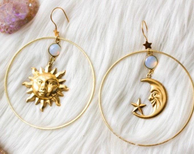 Old Flames Sun and Moon Dangle Earrings, Gold Earrings, Drop Earrings, Opal Earrings, Celestial Jewelry, Jewelry Gift