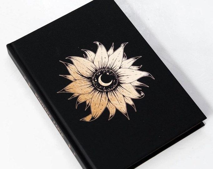 SUNFLOWER Gold Foil Journal   Lined Journal   Blank Journal   Notebook   Gift for her   Spiritual Journal