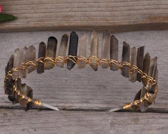 Smoky Quartz Point Crown Tiara Headband For Women Crystal Reiki Tiara Crown Hair Jewelry Accessories