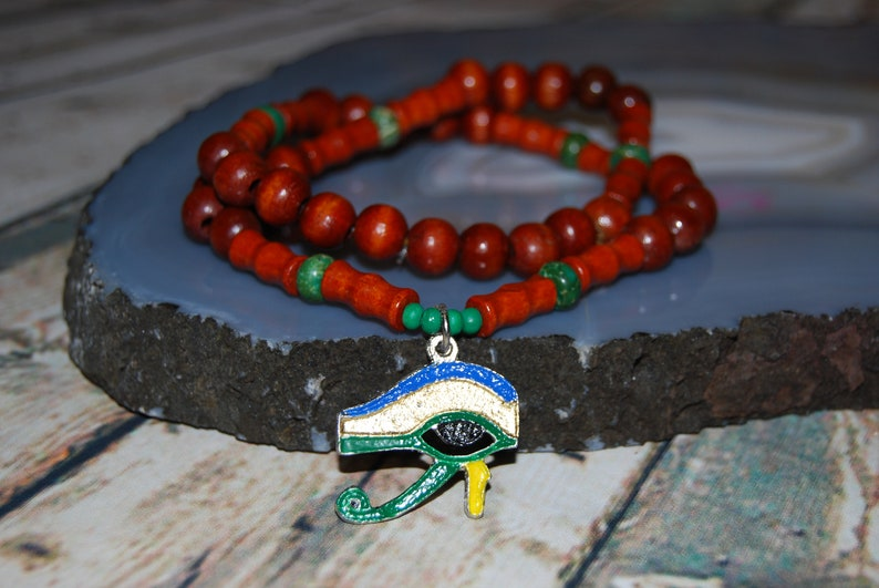 Egyptian Eye Of Horus Pendent Wood Necklace With Magnesite And Red Wood Beads