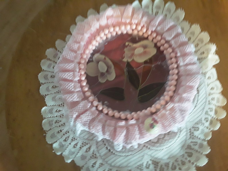 white lace beads Gift for girls women rose painting satin liming Pretty upcycled Pink Sbabby Chic Pink Jewelry Box Pearl luster paint