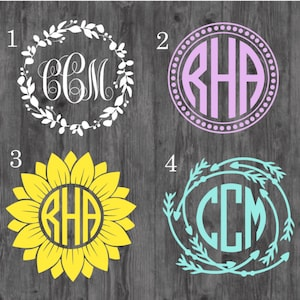 4 Letter Monogram Decal Monogram Car Decal Four Letter Etsy