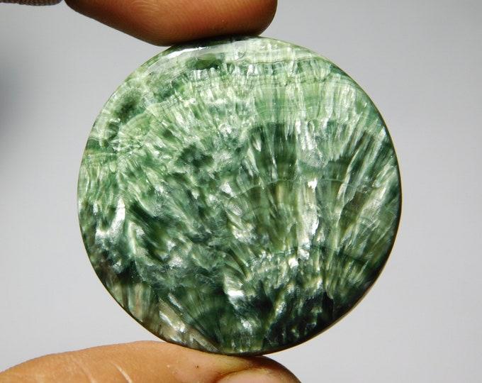 80Cts.37X37MM Natural Seraphinite Gemstone Top Quality Seraphinite Cabochon Seraphinite Loose semi precious Seraphinite Jewelry gemstone
