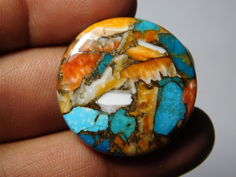 MM Top Quality Spiny Oyster Turquoise Cabochon for jewelry making.Spiny Oyster Turquoise Gemstone Oyster Turquoise loose stone 48Cts. 29X29