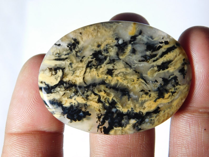 Top Quality Dendritic Tiger Agate Gemstone Tiger Dendritic Agate Cabochons Tiger Loose semi precious Jewelry making gemstone 66Cts.46X34MM
